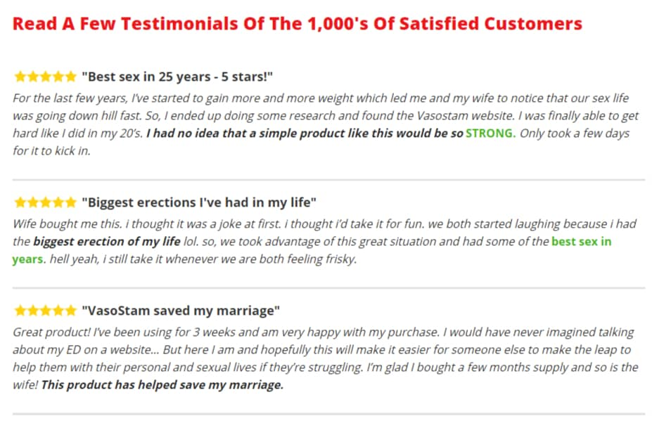 Vasostam Customer review